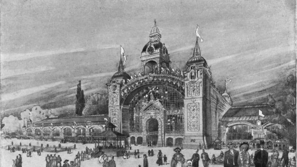 Palacio industrial de Praga,  1908,  foto: repro 'Upomínka na I. Živnostensko-průmyslovou výstavu v Praze'