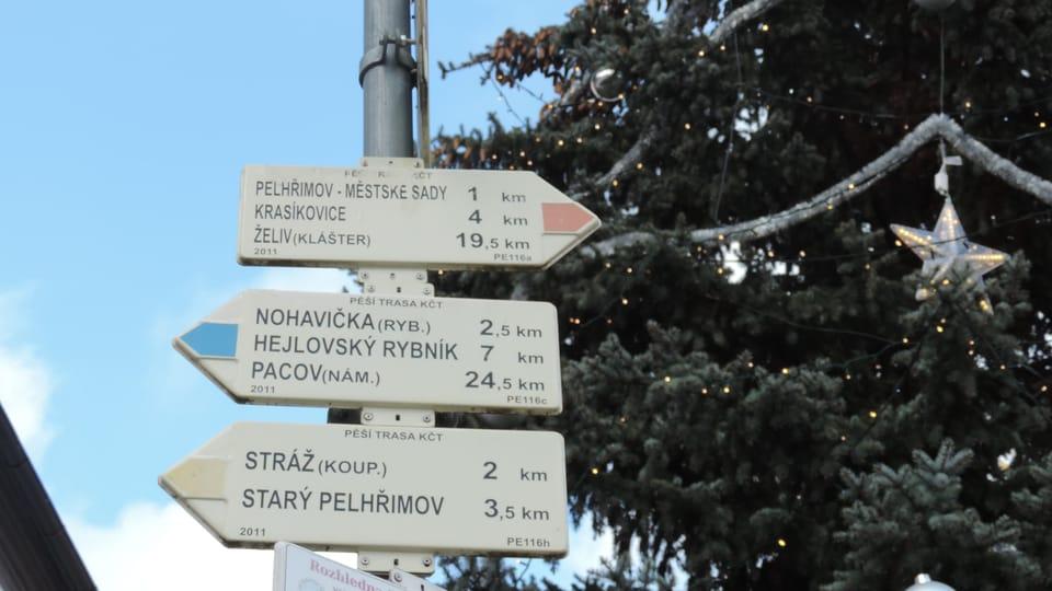 Carteles en Pelhřimov con árbol de navidad,  foto: Juan Pablo Bertazza