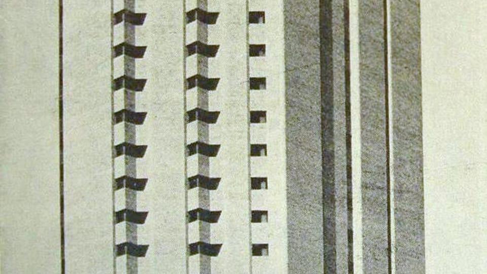 La Torre Conurban,  diseñada por los arquitectos Kocourek,  Katzenstein y Llorens y terminada en 1973. Buenos Aires,  Srgentina,  fuente: public domain