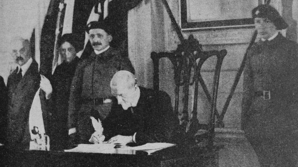 Masaryk firmando la declaración de independencia,  foto: Wikimedia Commonsd,  public domain