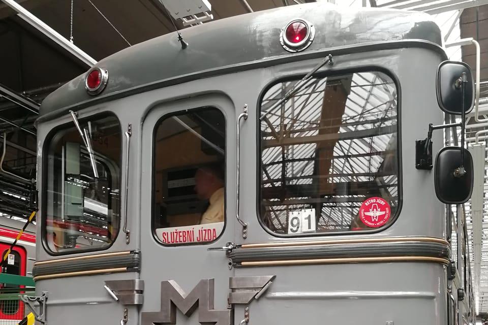 Los conjuntos de metro histórico en la cochera de Kačerov   Foto: Štěpánka Budková,  Radio Prague International